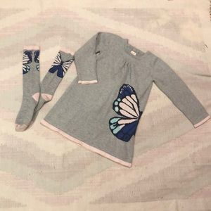 Sweater dress and knee high socks set